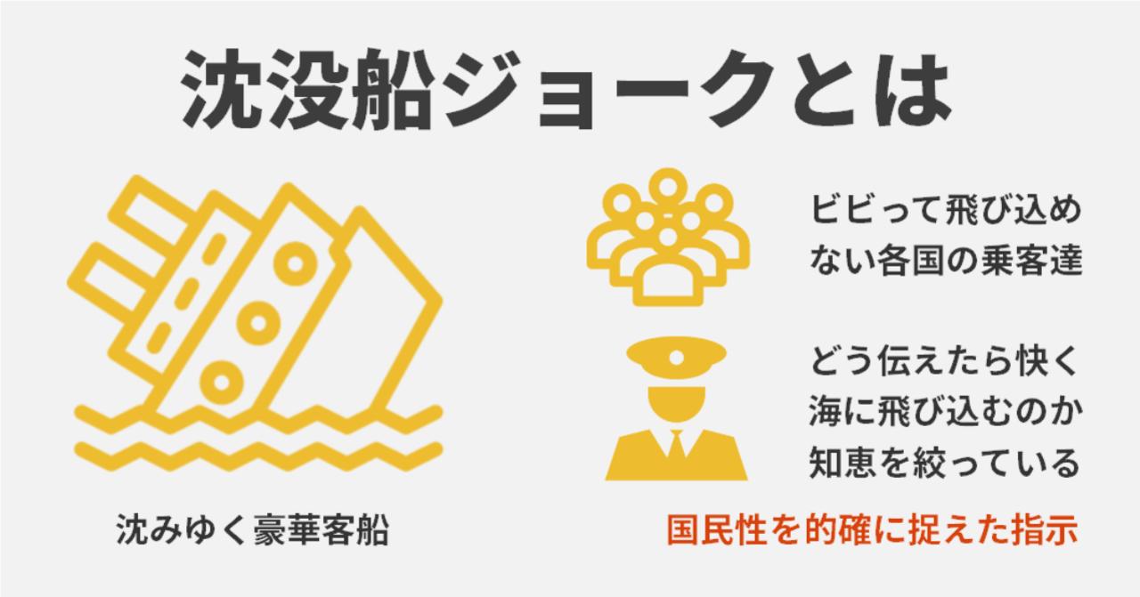 船 ジョーク 沈没 沈没船ジョークはまさしく今の日本人を醸し出していますね!