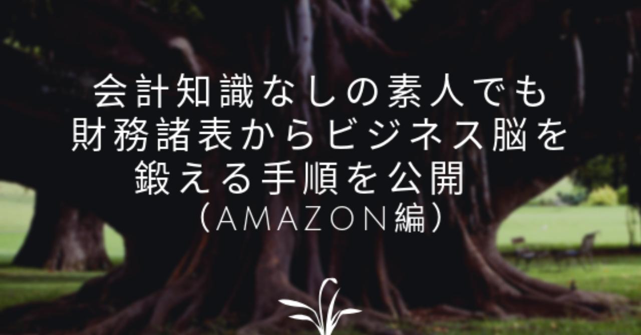 会計知識なしの素人でも財務諸表からビジネス脳を鍛える手順を公開__Amazon編