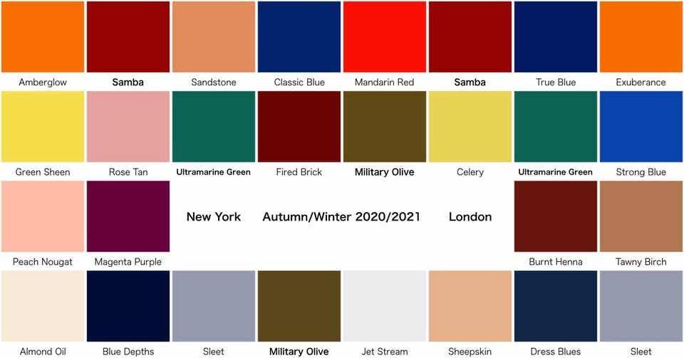 2020 秋冬 トレンド カラー
