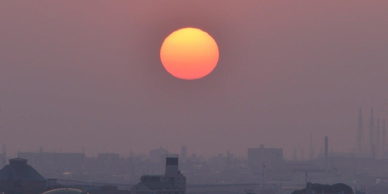 春霞 赤い夕日|フレネル|note