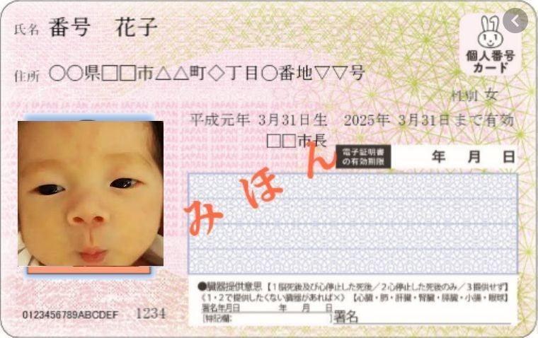 写真 マイナンバーカード 申請 赤ちゃん