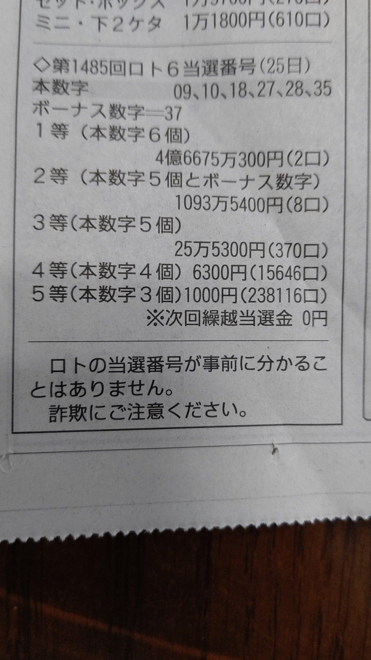 者 ロト 当選