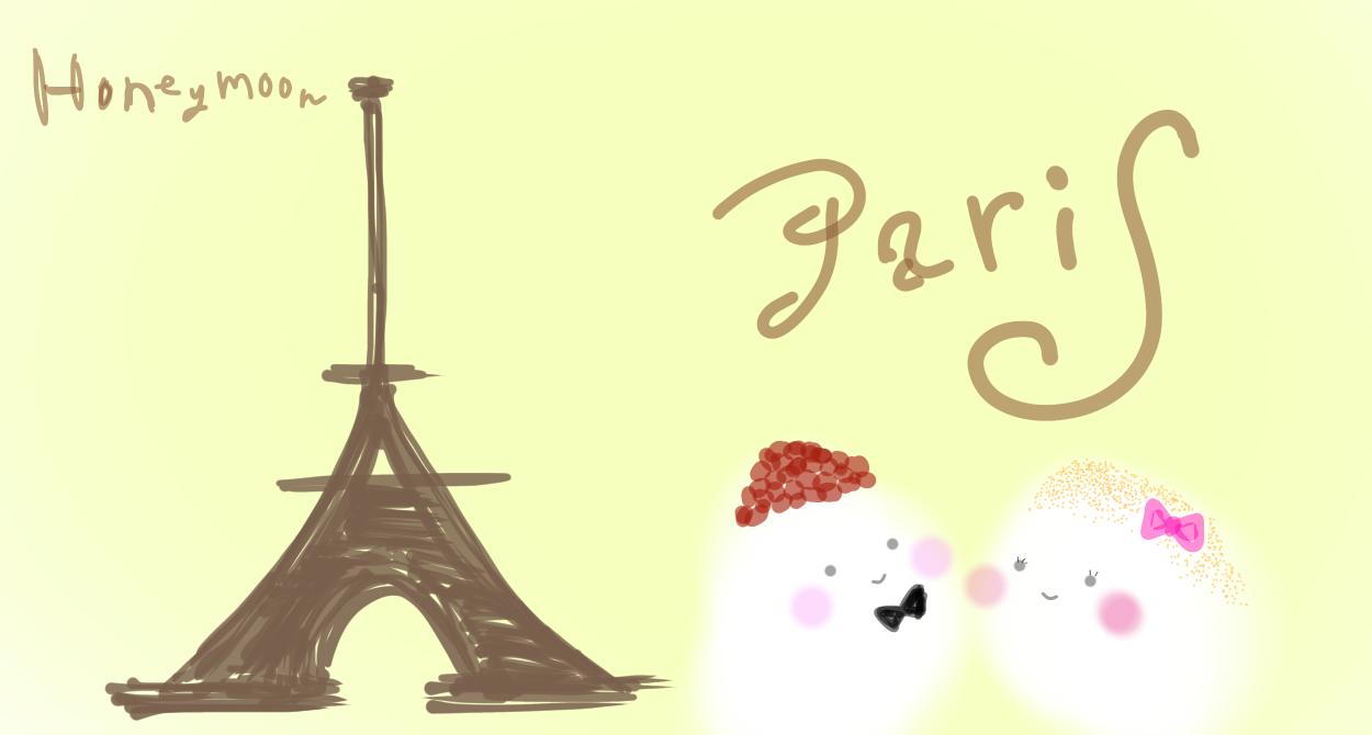 しろうとイラストシリーズ。 パリで浮かれる、あずき(夫)ときなこ(妻 ...