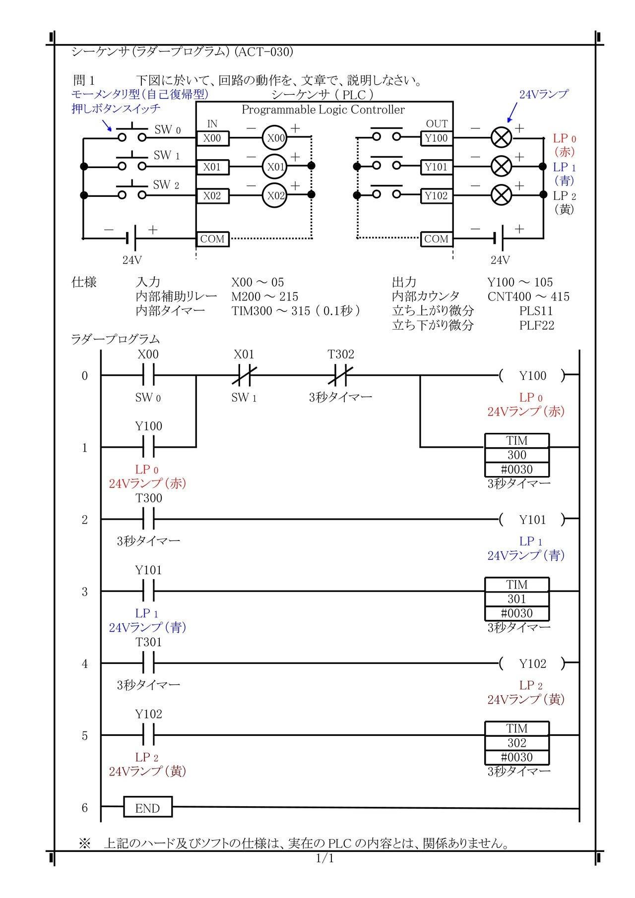 ACT-030) PLCラダーシーケンス制御(PLCロジック・自己保持回路 ...