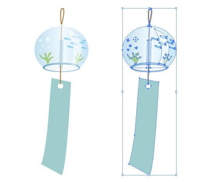 夏の風物詩 ガラスの風鈴のイラスト イラレ素材 イラレ フォトショップ 写真 切り抜きデータ Note