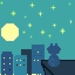 ドット絵 夜と猫 七瀬 渡 Note
