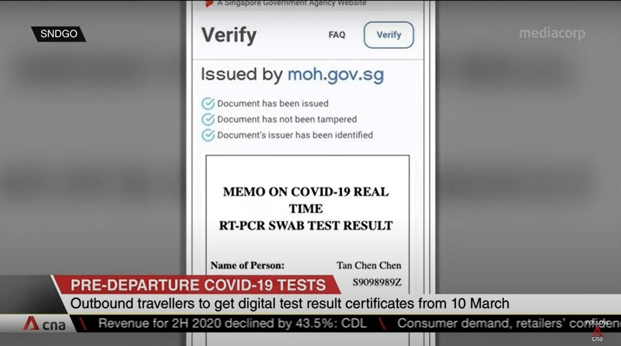 シンガポール政府デジタルワクチン接種証明書発行