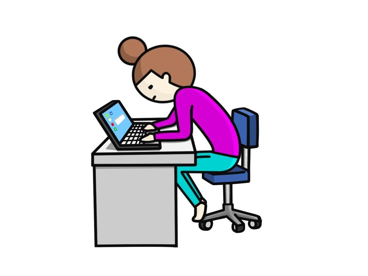姿勢 椅子 体制 女性 パソコン