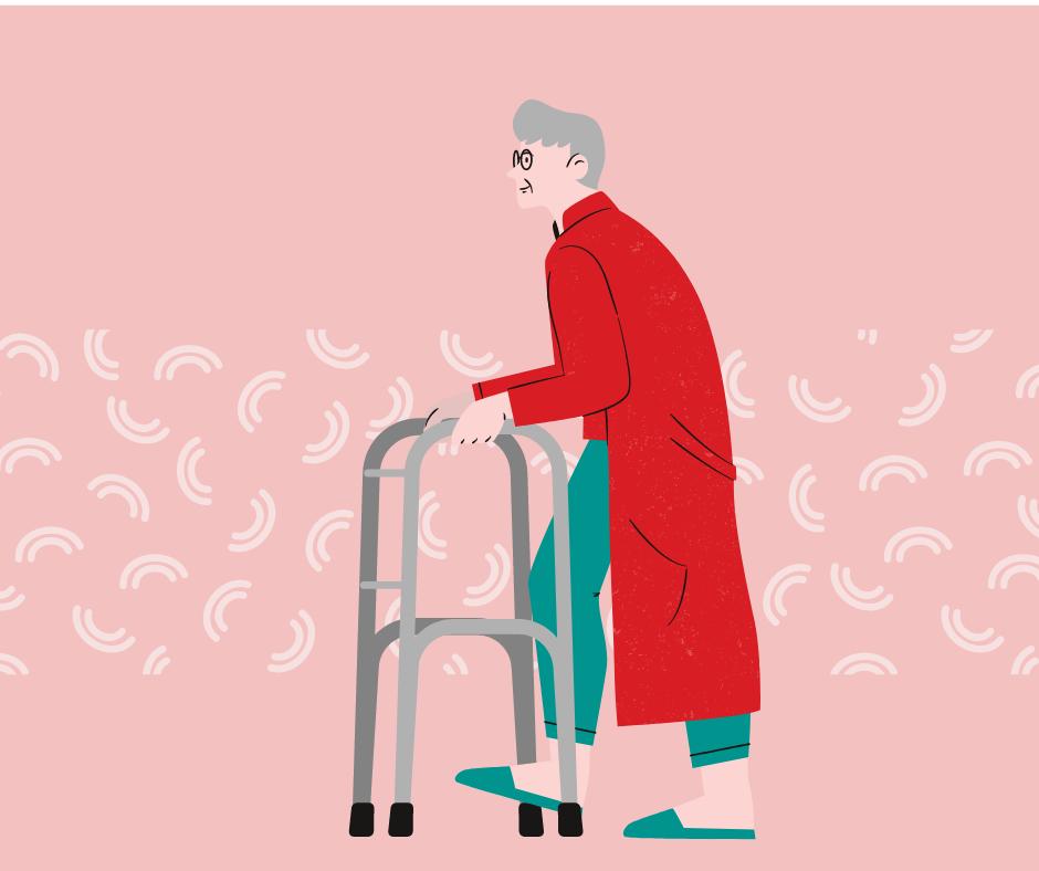 歩行器を使って歩く老人イラスト