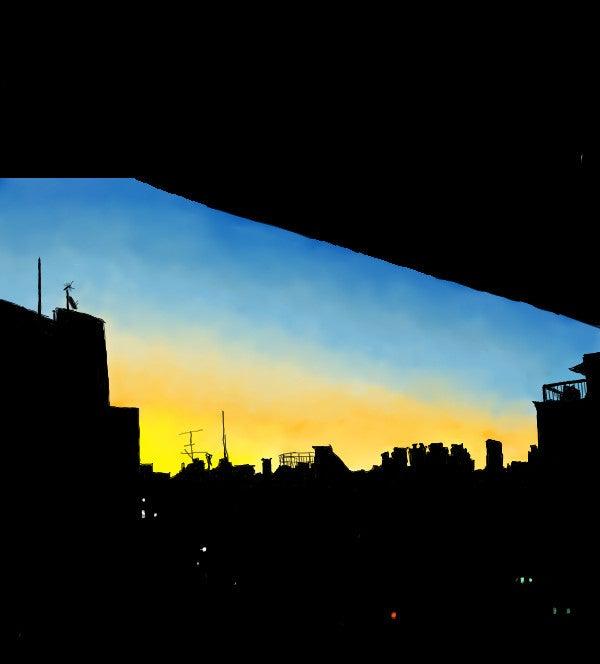 病棟から見える夜明け1