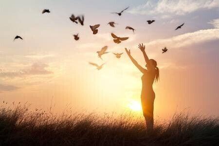 61706692-日没の背景、希望コンセプトに自然を楽しんでいる女性祈りと無料鳥