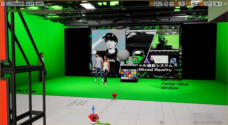 画像: Unreal Engine上のCG空間とスタジオスキャンデータを同時に表示したキャプチャ画像