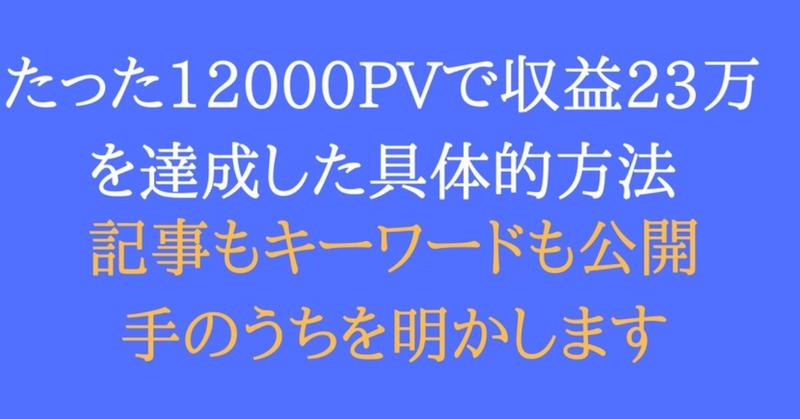 たった12000PVで収益23万を達成した具体的方法